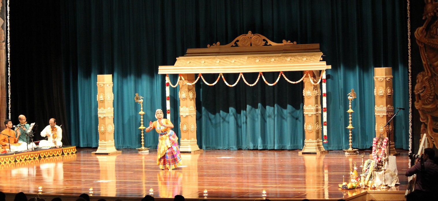 Dance arangetram stage decor golden mantap australia for Arangetram stage decoration ideas